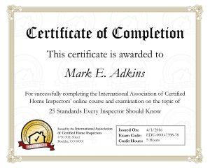 25 standards certificate