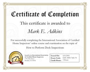 Deck Inspection Certificate