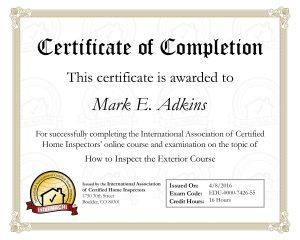 Exterior Inspection Certificate