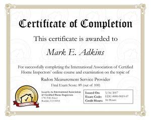 Radon Certificate