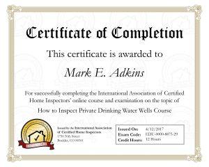 Well Certificate
