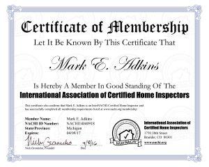 InterNACHI Membership Certificate