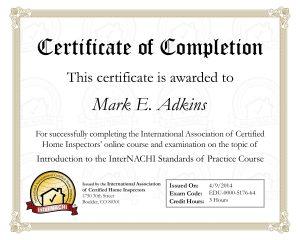 Standards of Practice Certificate